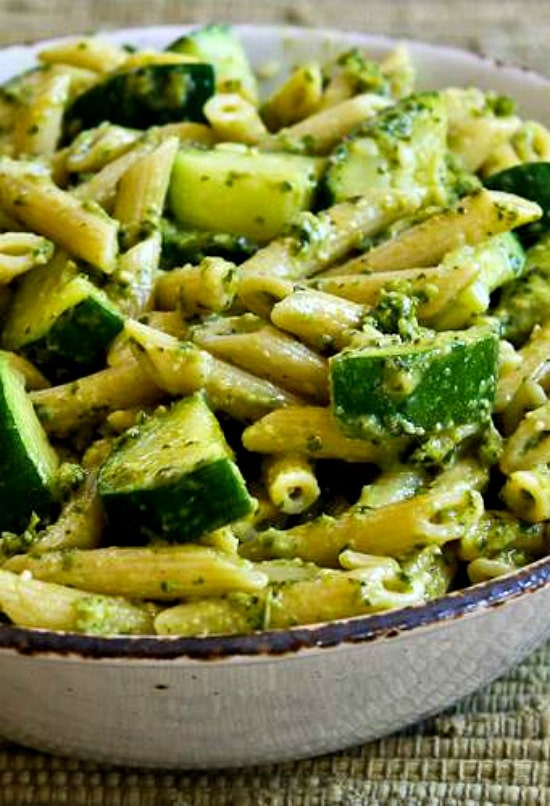 easy penne pasta with zucchini and basil pesto kalyn s kitchen