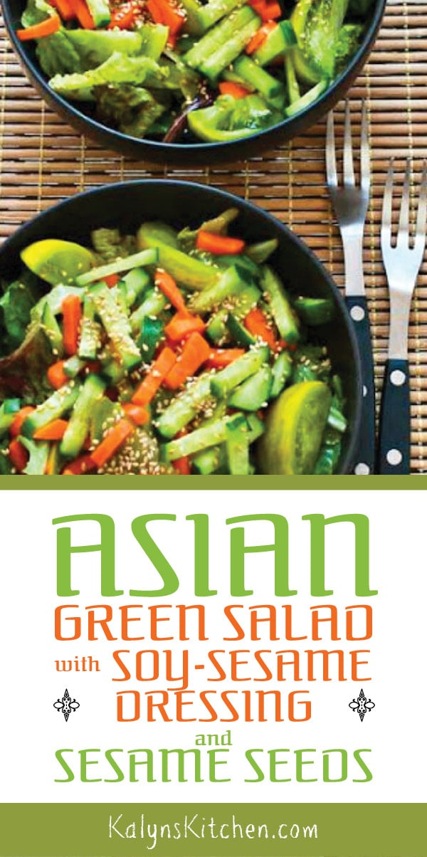 Pinterest image of Asian Green Salad with Soy-Sesame Dressing and Sesame Seeds