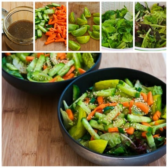Asian Green Salad Recipe with Soy-Sesame Dressing and Sesame Seeds found on KalynsKitchen.com