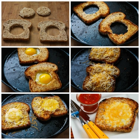 Pop-Eye Eggs with Cheese and Salsa found on KalynsKitchen.com