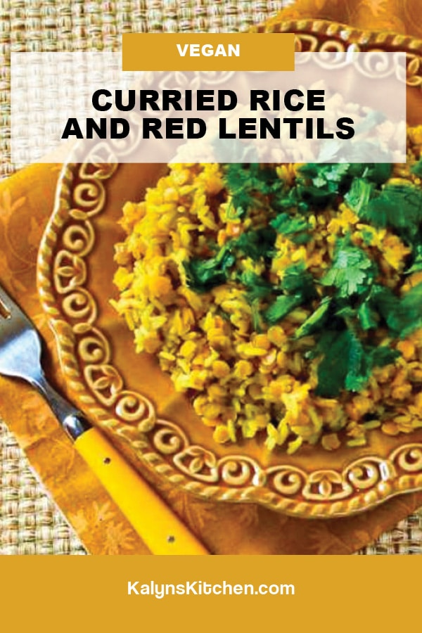 Pinterest image of Curried Rice and Red Lentils