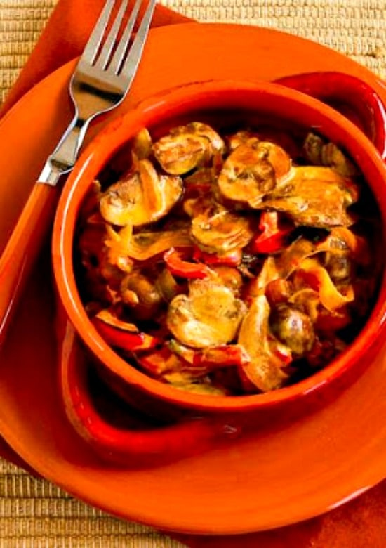 Low-Carb Vegetarian Mushroom Stew with Red Bell Pepper, Onion, and Paprika found on KalynsKitchen.com
