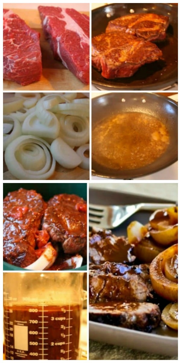 Low-Carb Balsamic and Onion Pot Roast process shots collage
