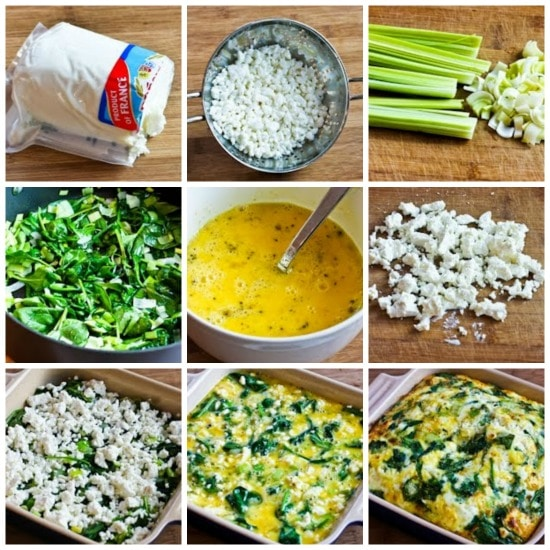 Breakfast Casserole with Spinach, Leeks, Cottage Cheese, and Goat Cheese found on KalynsKitchen.com