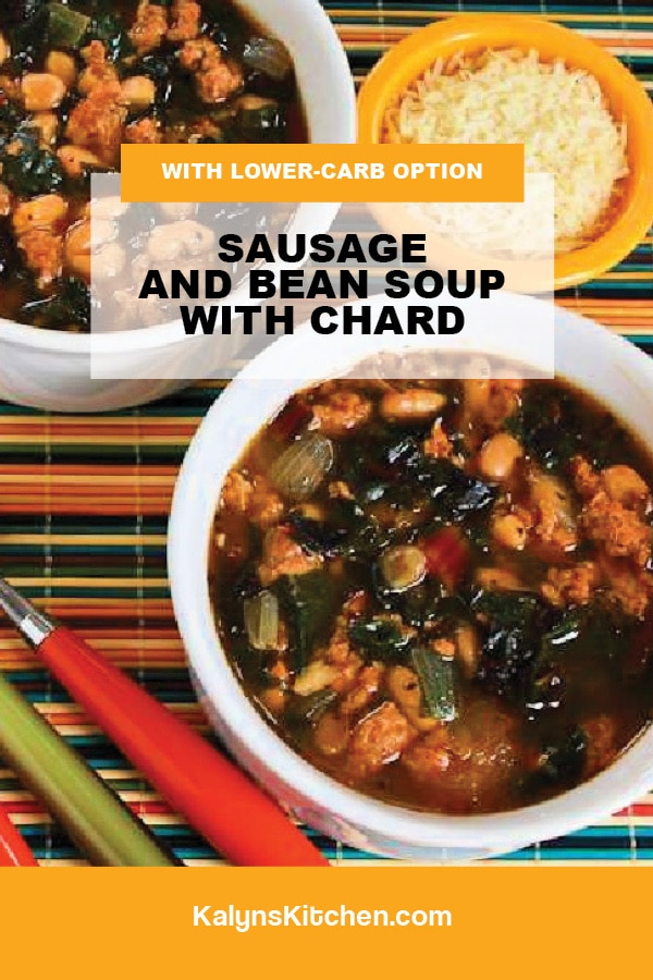 Pinterest image of Sausage and Bean Soup with Chard