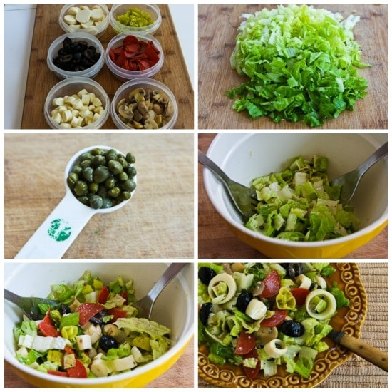 Kalyn's Favorite Low-Carb Antipasto Chopped Salad (and Tips for Satisfying Salads at Home) found on KalynsKitchen.com