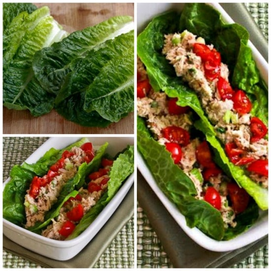 Low-Carb Tuna Salad Lettuce Wraps with Capers and Tomatoes found on KalynsKitchen.com