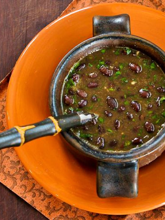 Spicy Vegan Black Bean Soup with Cilantro and Green Tabasco found on KalynsKitchen.com