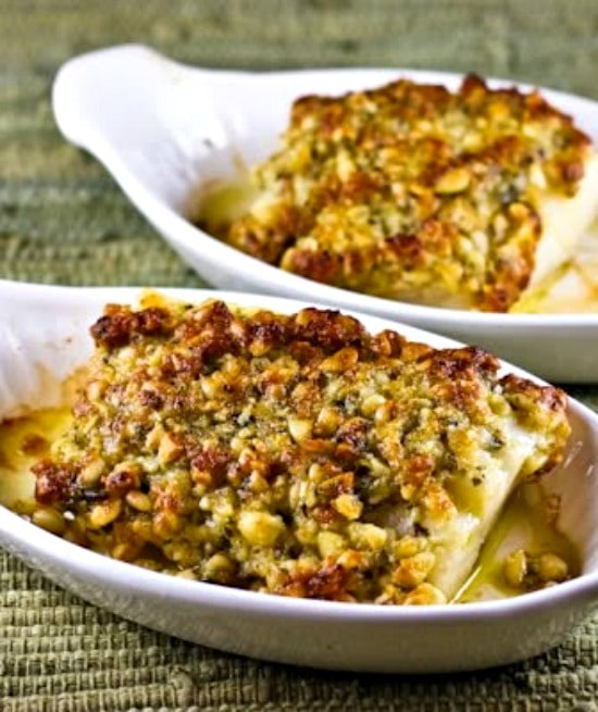 Baked White Fish with Pine Nut, Parmesan, and Pesto Crust