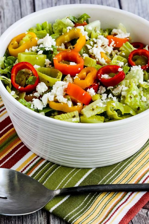 Peperoncini Chopped Salad with Romaine, Red Bell Pepper, and Feta found on KalynsKitchen.com