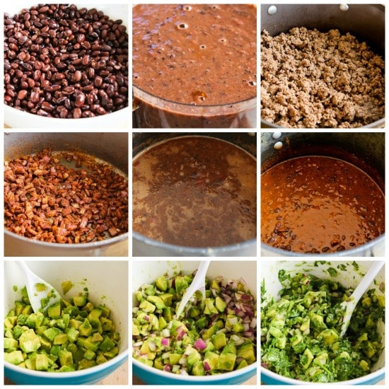 Black Bean and Beef Chili with Cilantro, Lime, and Avocado Salsa found on KalynsKitchen.com
