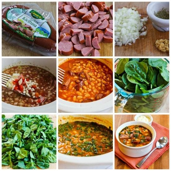 Slow Cooker Kielbasa and White Bean Stew on KalynsKitchen.com