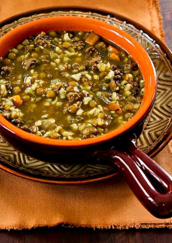 Lentil Soup Recipe with Ground Beef and Brown Rice found on KalynsKitchen.com
