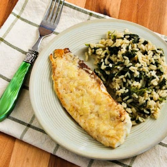 Low-Carb White Fish with Parmesan Crust found on KalynsKitchen.com