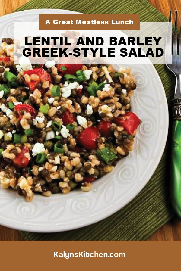 Pinterest image of Lentil and Barley Greek-Style Salad