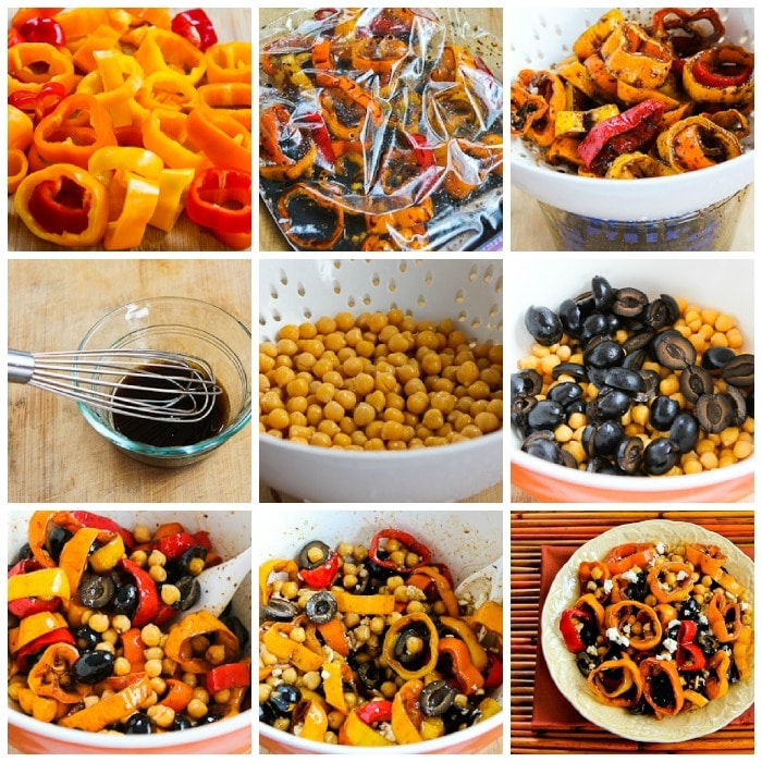 Marinated Pepper Salad with Garbanzos process shots collage