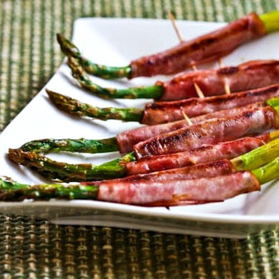 Roasted Asparagus Wrapped in Ham found on KalynsKitchen.com
