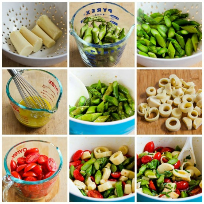 Asparagus and Tomato Salad with Hearts of Palm process shots collage