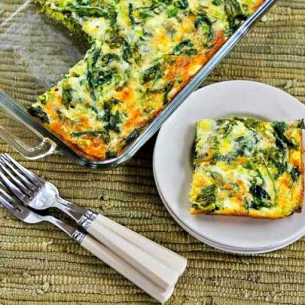 Baby Kale, Mozzarella, and Egg Bake found on KalynsKitchen.com