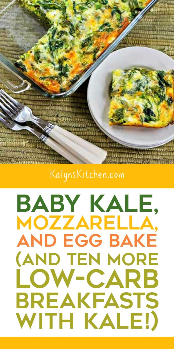 Pinterest image of Baby Kale, Mozzarella, and Egg Bake (and Breakfast Ideas with Kale!)