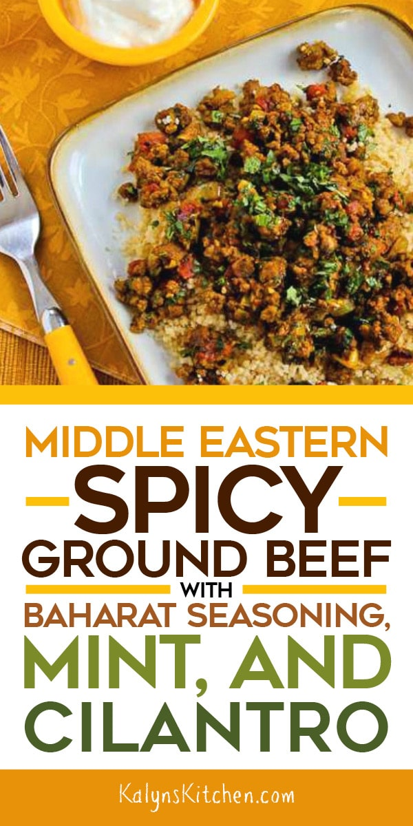 Middle Eastern Spicy Ground Beef with Baharat Seasoning, Mint, and Cilantro on KalynsKitchen.com