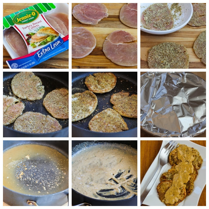 Turkey Cutlets with Dijon Sauce process shots collage