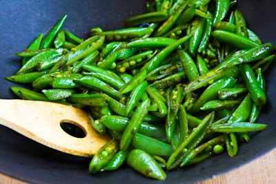 Spicy Stir-Fried Sugar Snap Peas with Soy Sauce, Sesame Oil, and Sriracha found on KalynsKitchen.com