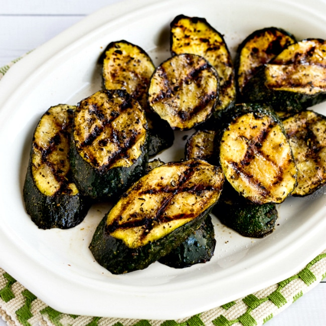 How to Grill Zucchini thumbnail photo of grilled zucchini on plate