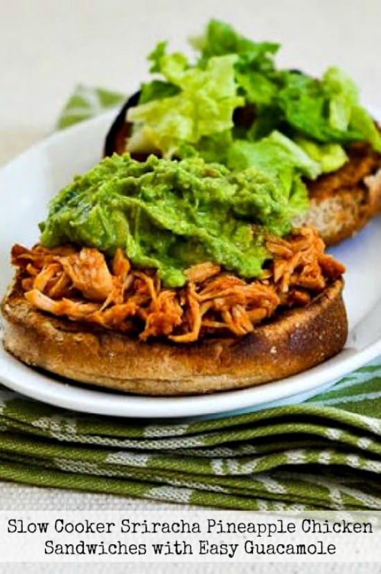 Slow Cooker Sriracha-Pineapple Barbecued Chicken Sandwiches with Easy Guacamole found on KalynsKitchen.com