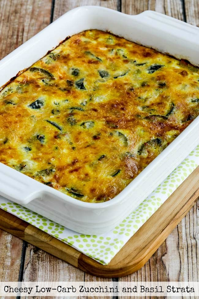 Top photo for Cheesy Low-Carb Zucchini and Basil Strata
