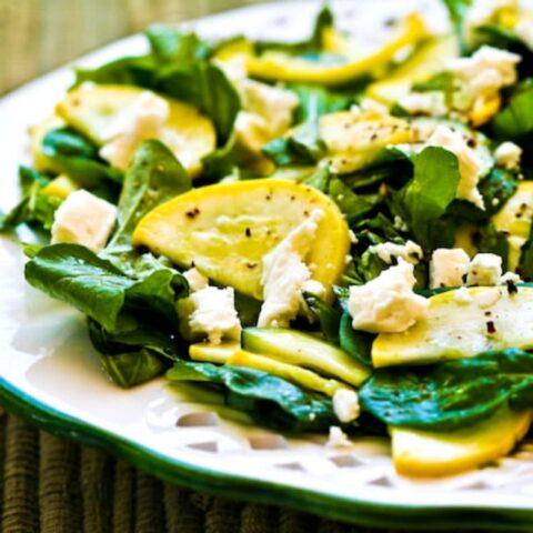 Raw Summer Squash Salad with Arugula and Feta