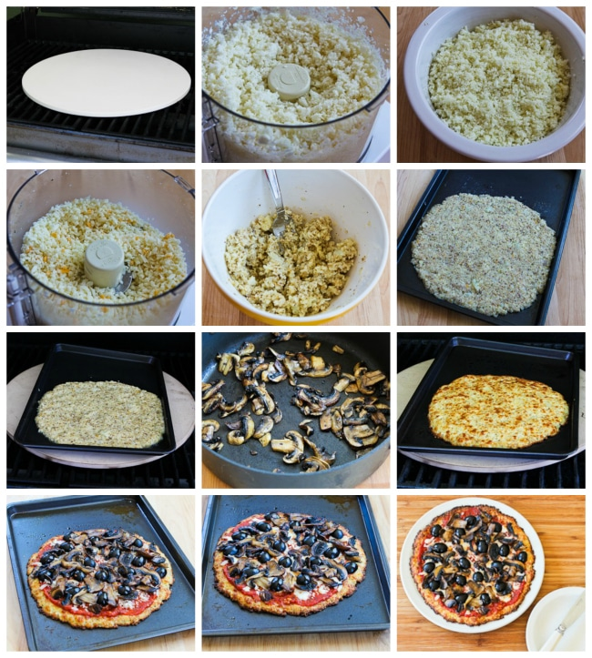 Cauliflower-Crust Vegetarian Pizza process shots collage
