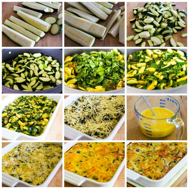Process photos for Cheesy Low-Carb Zucchini and Basil Strata