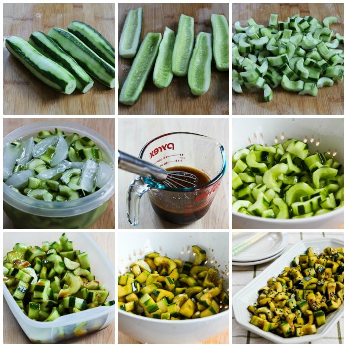 Chinese Cucumber Salad process shots collage