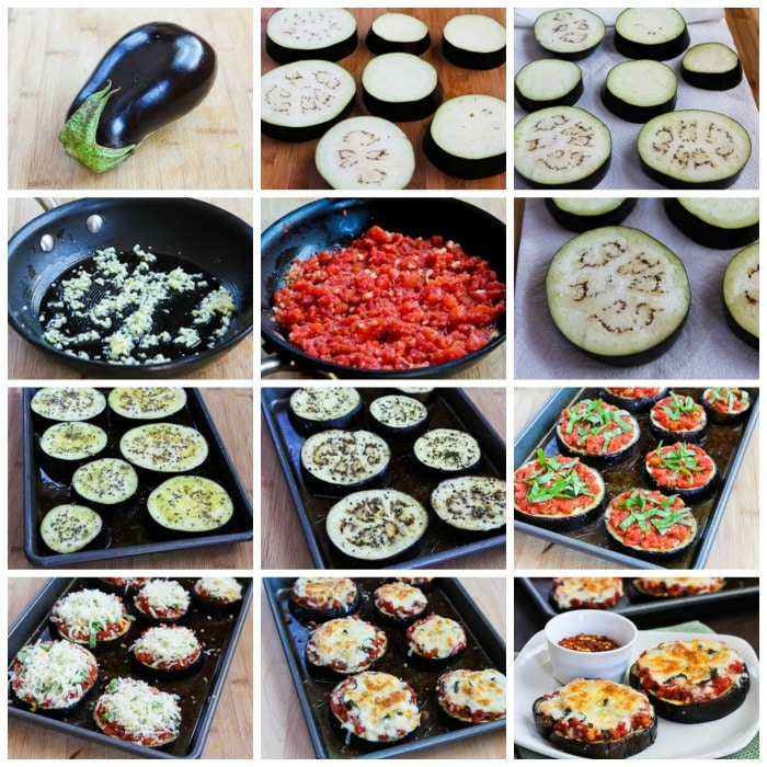Julia Child's Eggplant Pizzas process shots collage