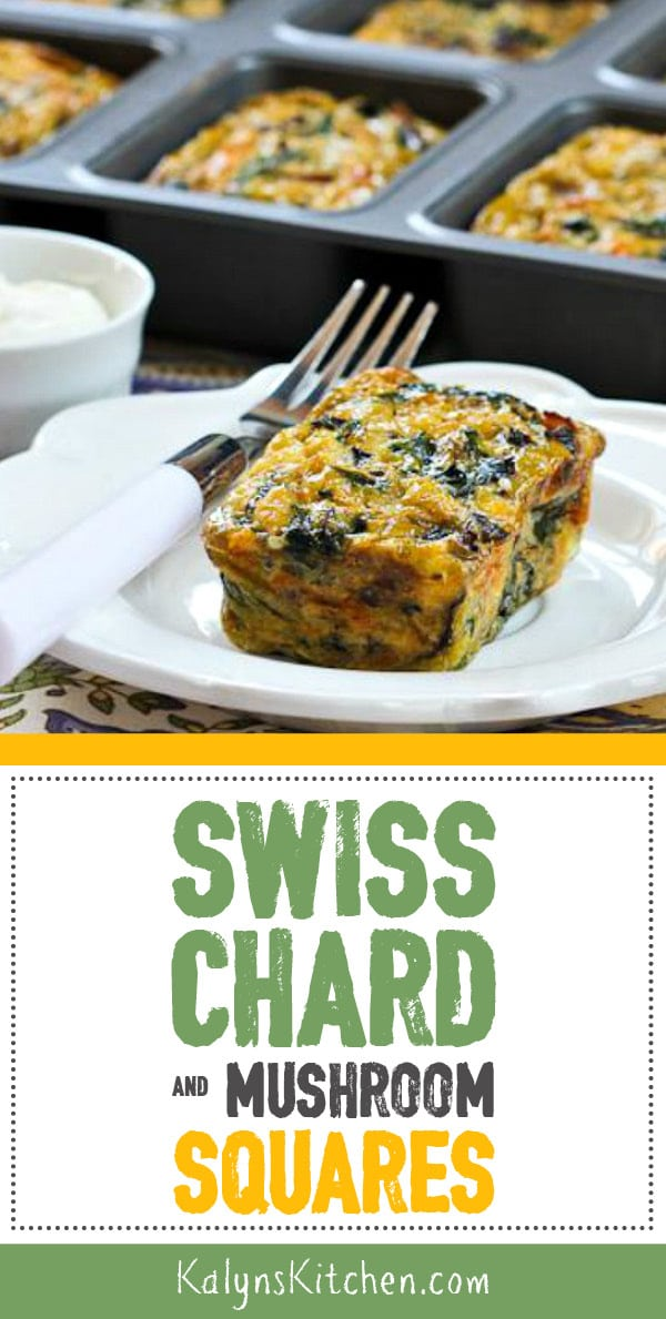 Pinterest image of Swiss Chard and Mushroom Squares