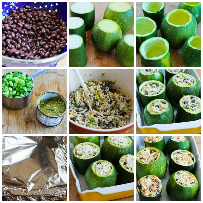Vegetarian Stuffed Zucchini process shots collage