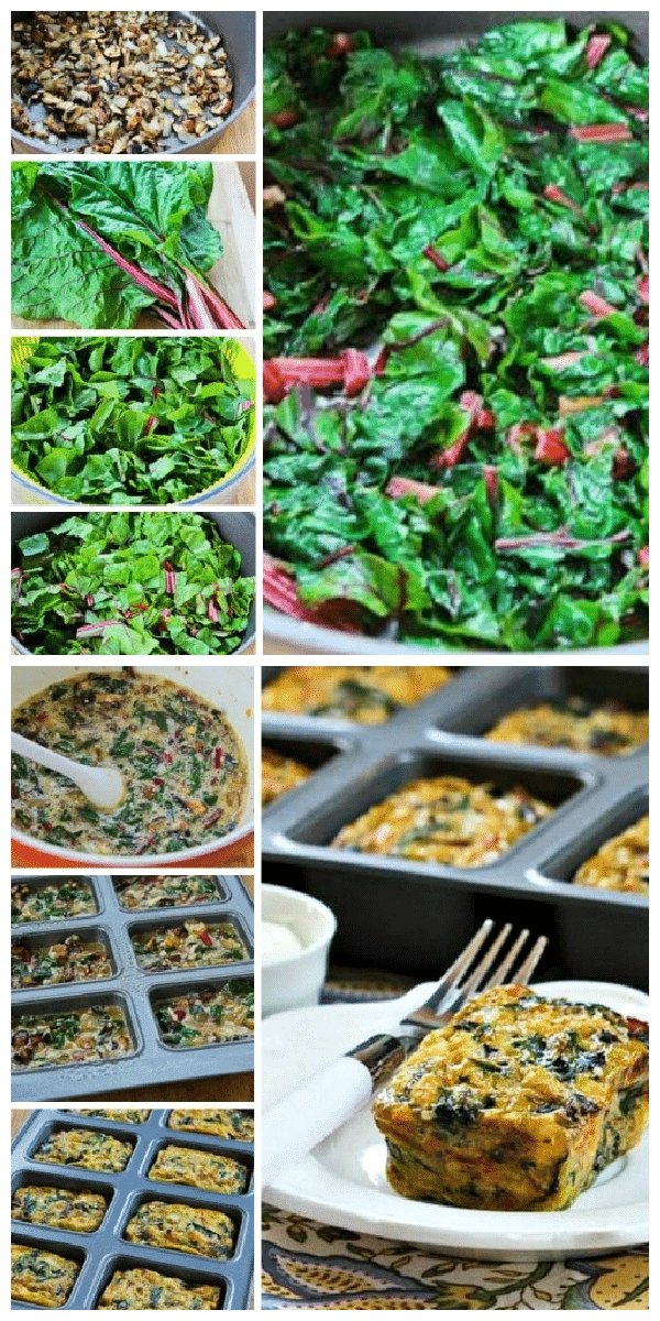 Swiss Chard and Mushroom Squares process shots collage