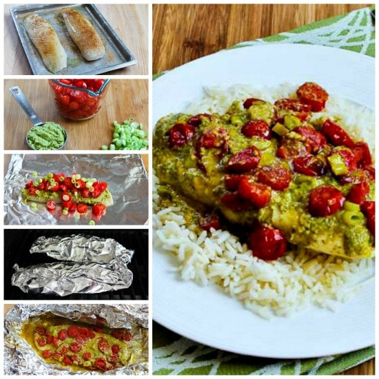 Foil-Wrapped Grilled Fish Packets with Pesto, Tomatoes, and Green Onions found on KalynsKitchen.com