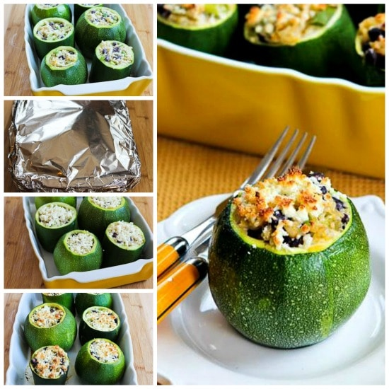 Vegetarian Stuffed Zucchini with Brown Rice, Black Beans, Chiles, Cheddar, and Cotija Cheese found on KalynsKitchen.com