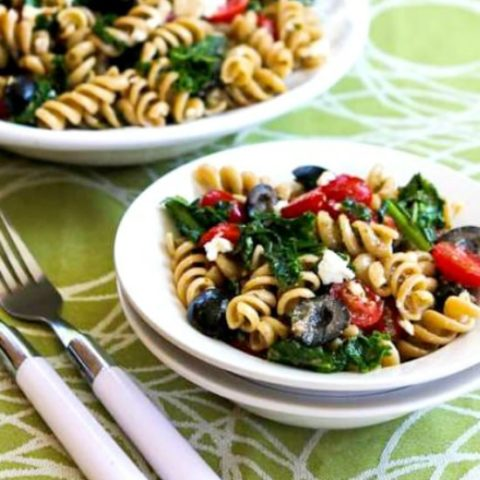 Pasta Salad with Fried Kale, Tomatoes, Olives, and Feta