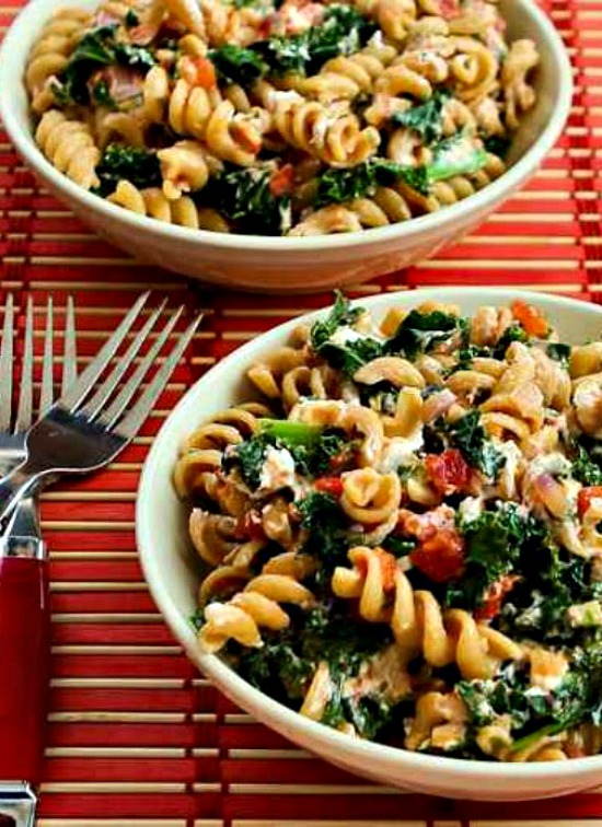 Vegetarian Whole Wheat Pasta with Fried Kale, Tomato Sauce, and Goat Cheese