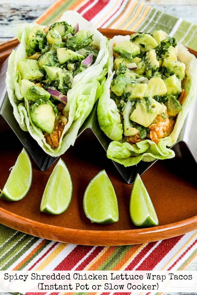 Spicy Shredded Chicken Lettuce Wrap Tacos (Instant Pot or Slow Cooker) on KalynsKitchen.com