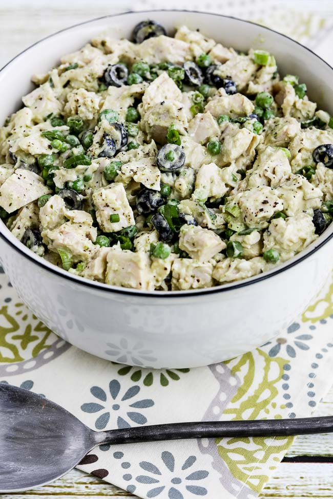 Close-up photo for Low-Carb Chicken Pesto Salad with Olives and Peas