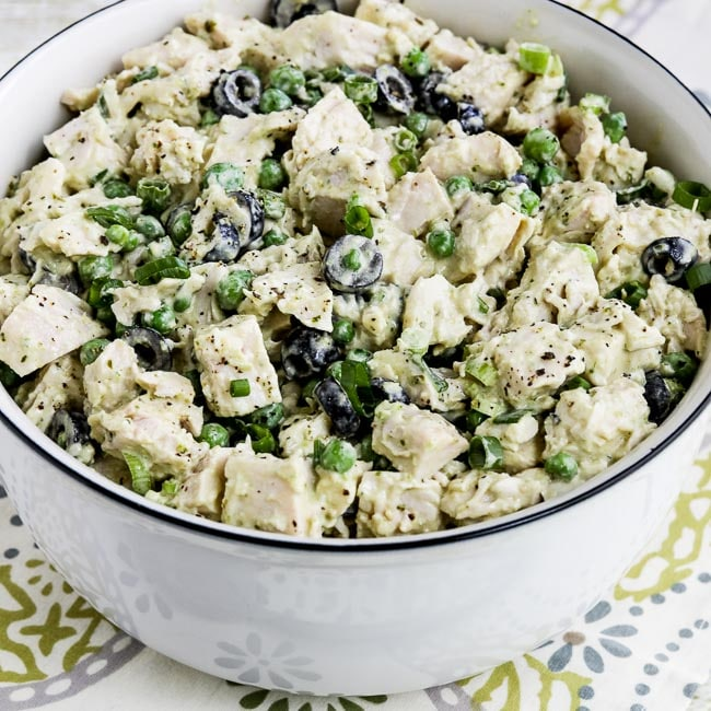 Thumbnail photo for Low-Carb Chicken Pesto Salad with Olives and Peas
