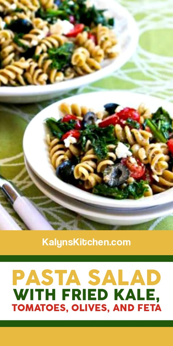 Pinterest image of Pasta Salad with Fried Kale, Tomatoes, Olives, and Feta