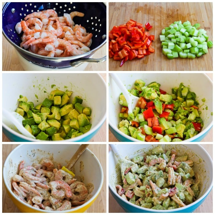 Shrimp, Avocado, and Red Pepper Salad process shots collage