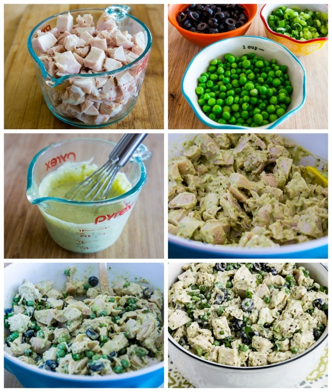 Steps for Making Low-Carb Chicken Pesto Salad with Olives and Peas