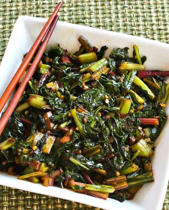 Spicy Stir-Fried Swiss Chard finished dish on serving plate