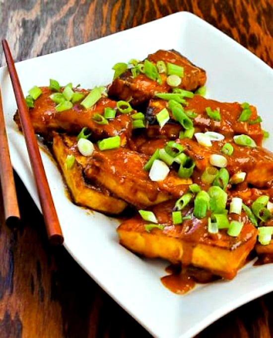 Spicy Peanut Butter Tofu with Sriracha from KalynsKitchen.com